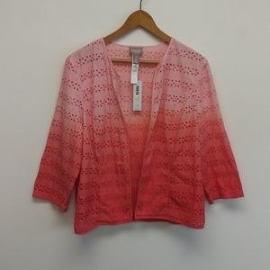 NWT Chico's Coral Fusion Ombre Jacket